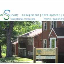Rental info for Columbia Ridge Apartments 2530 Columbia Avenue - Apt 3 in the Pittsburgh area