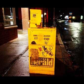 Photo of Wheatpaste On News box in Allston, Boston