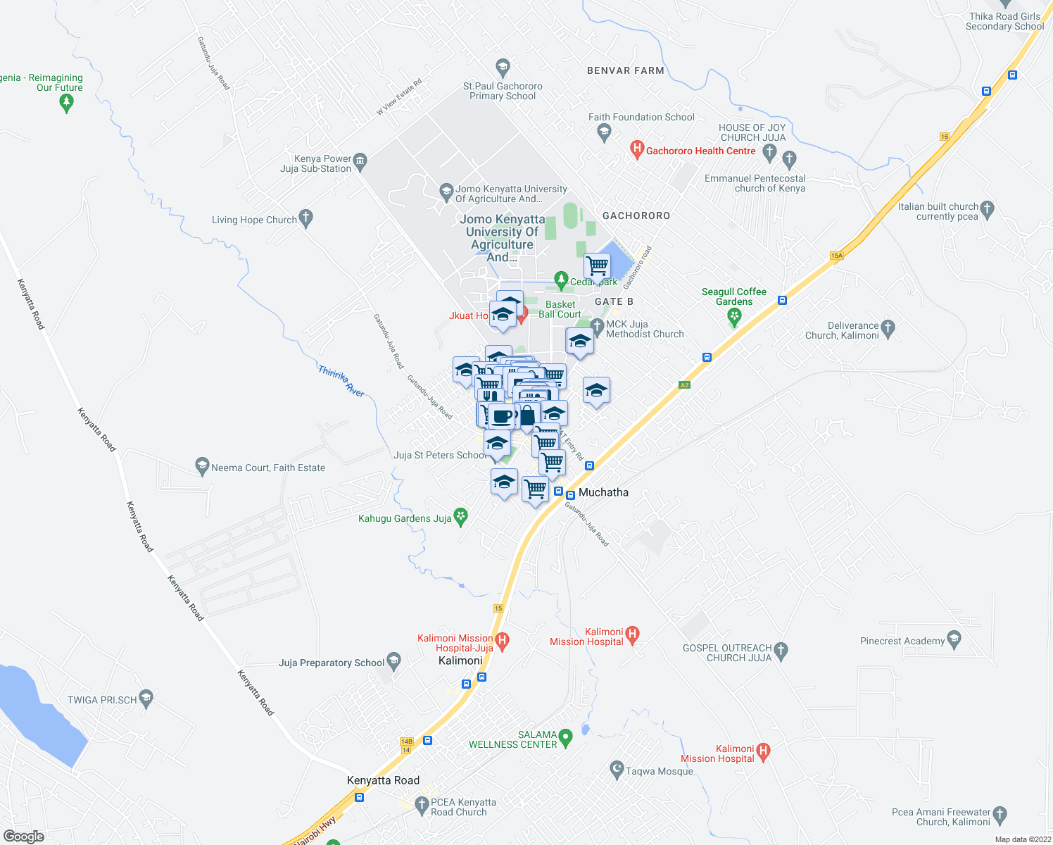 map of restaurants, bars, coffee shops, grocery stores, and more near in Juja