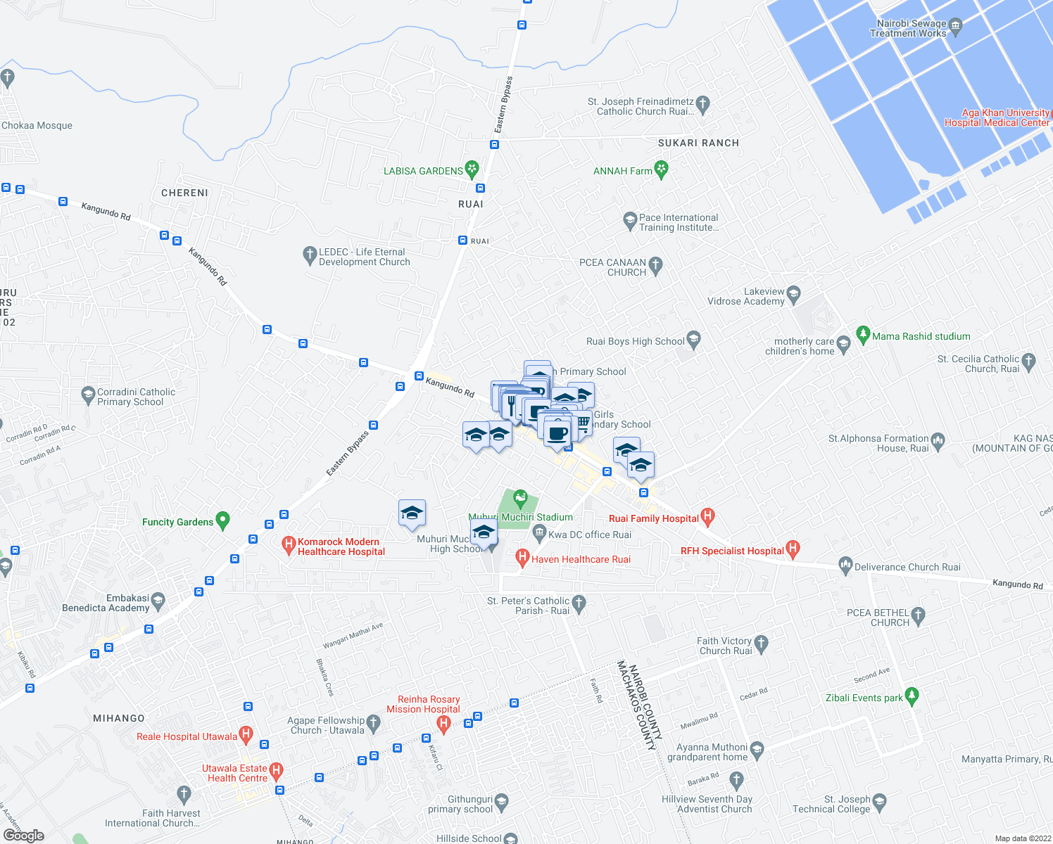 map of restaurants, bars, coffee shops, grocery stores, and more near Kangundo Road in Nairobi