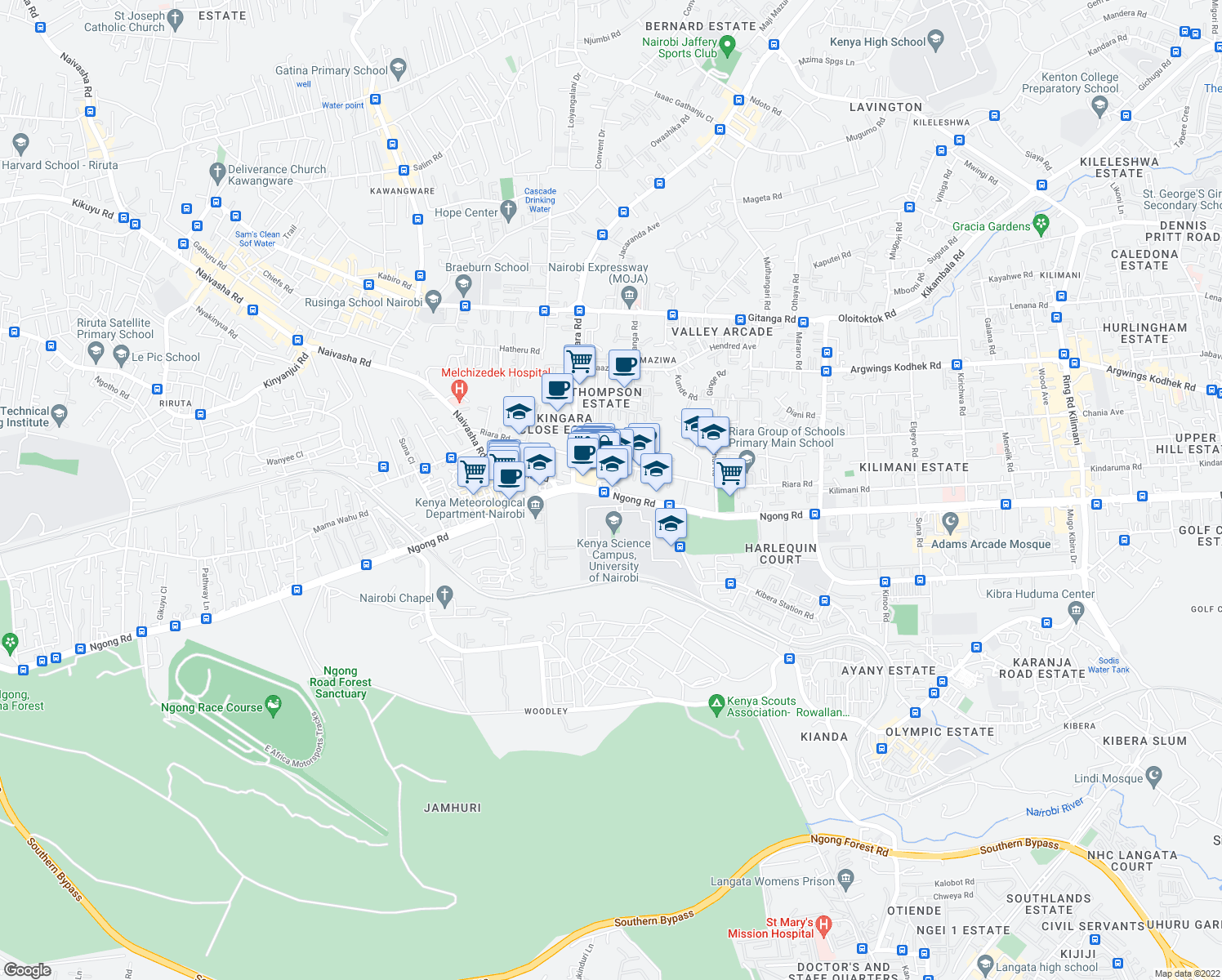 map of restaurants, bars, coffee shops, grocery stores, and more near in Nairobi