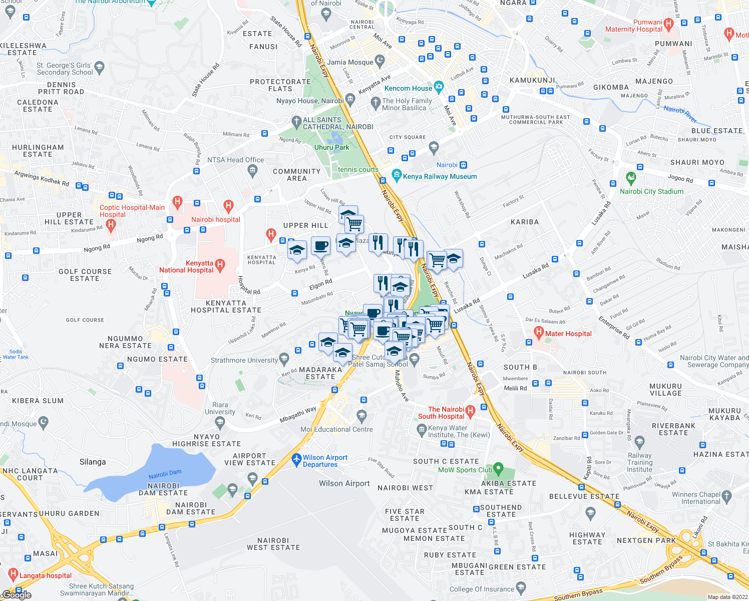 map of restaurants, bars, coffee shops, grocery stores, and more near Gandhi Avenue in Nairobi