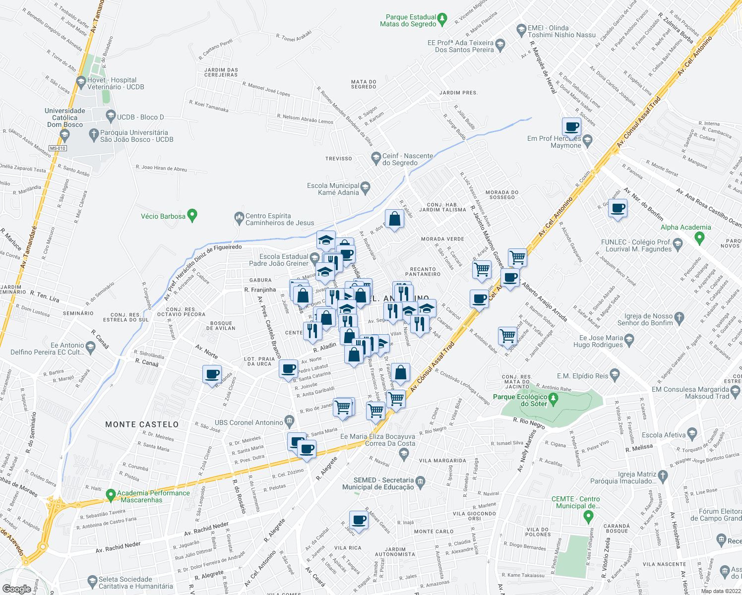 map of restaurants, bars, coffee shops, grocery stores, and more near 887-1005 Rua Francisco José Abrão in Campo Grande