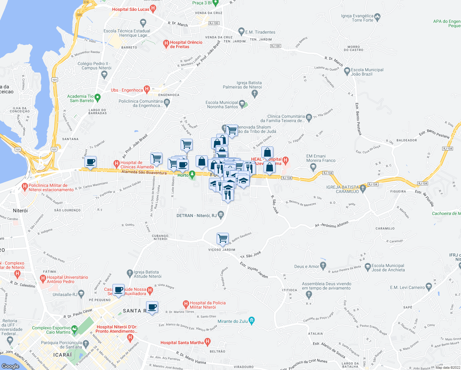 map of restaurants, bars, coffee shops, grocery stores, and more near 909 Rua Desembargador Lima Castro in Niteroi