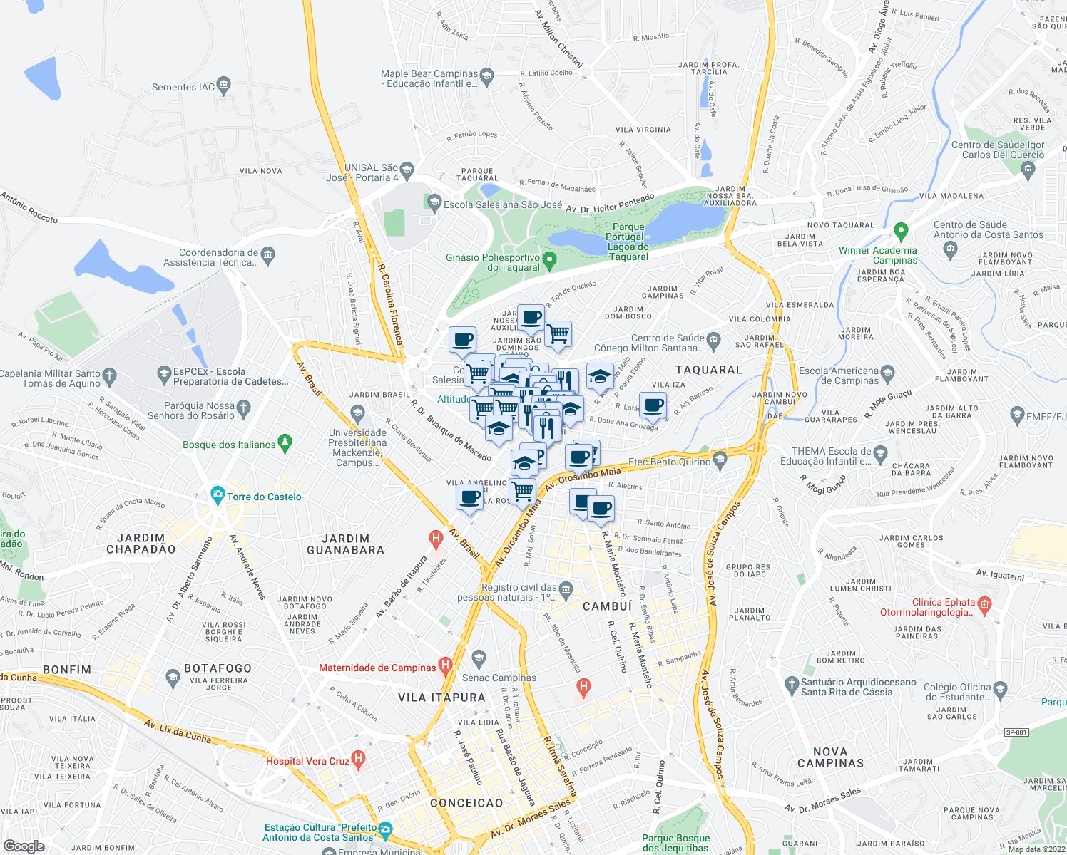 map of restaurants, bars, coffee shops, grocery stores, and more near 137 Rua Doutor Osvaldo Cruz in Campinas