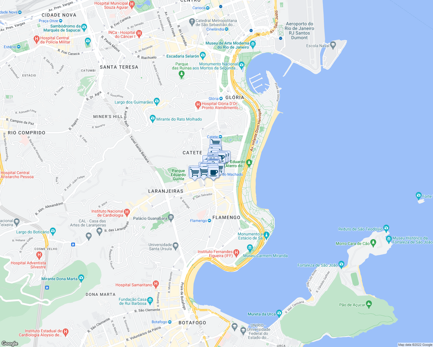 map of restaurants, bars, coffee shops, grocery stores, and more near 311 Rua do Catete in Rio de Janeiro