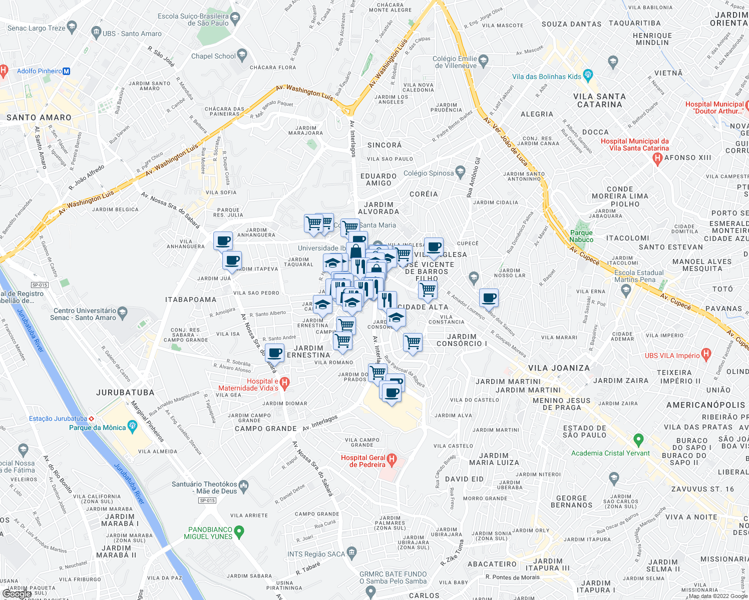 map of restaurants, bars, coffee shops, grocery stores, and more near 1676 Av. Interlagos in Sao Paulo