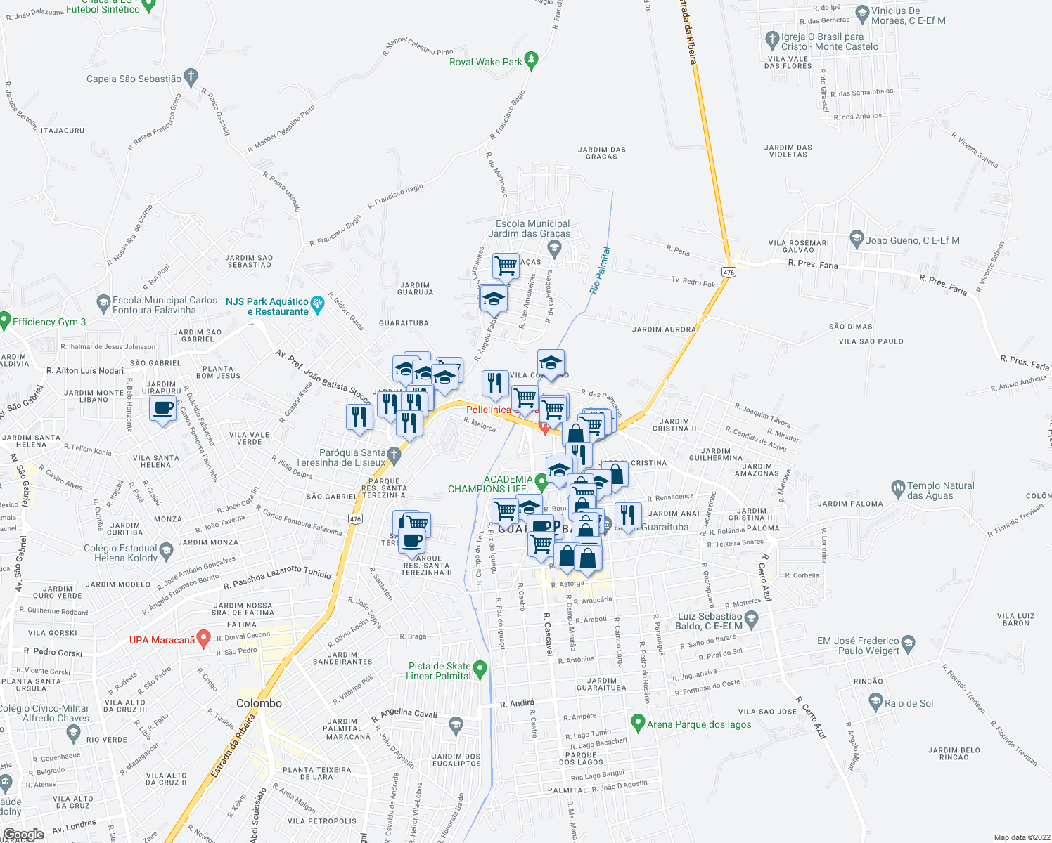 map of restaurants, bars, coffee shops, grocery stores, and more near Estrada da Ribeira in Colombo