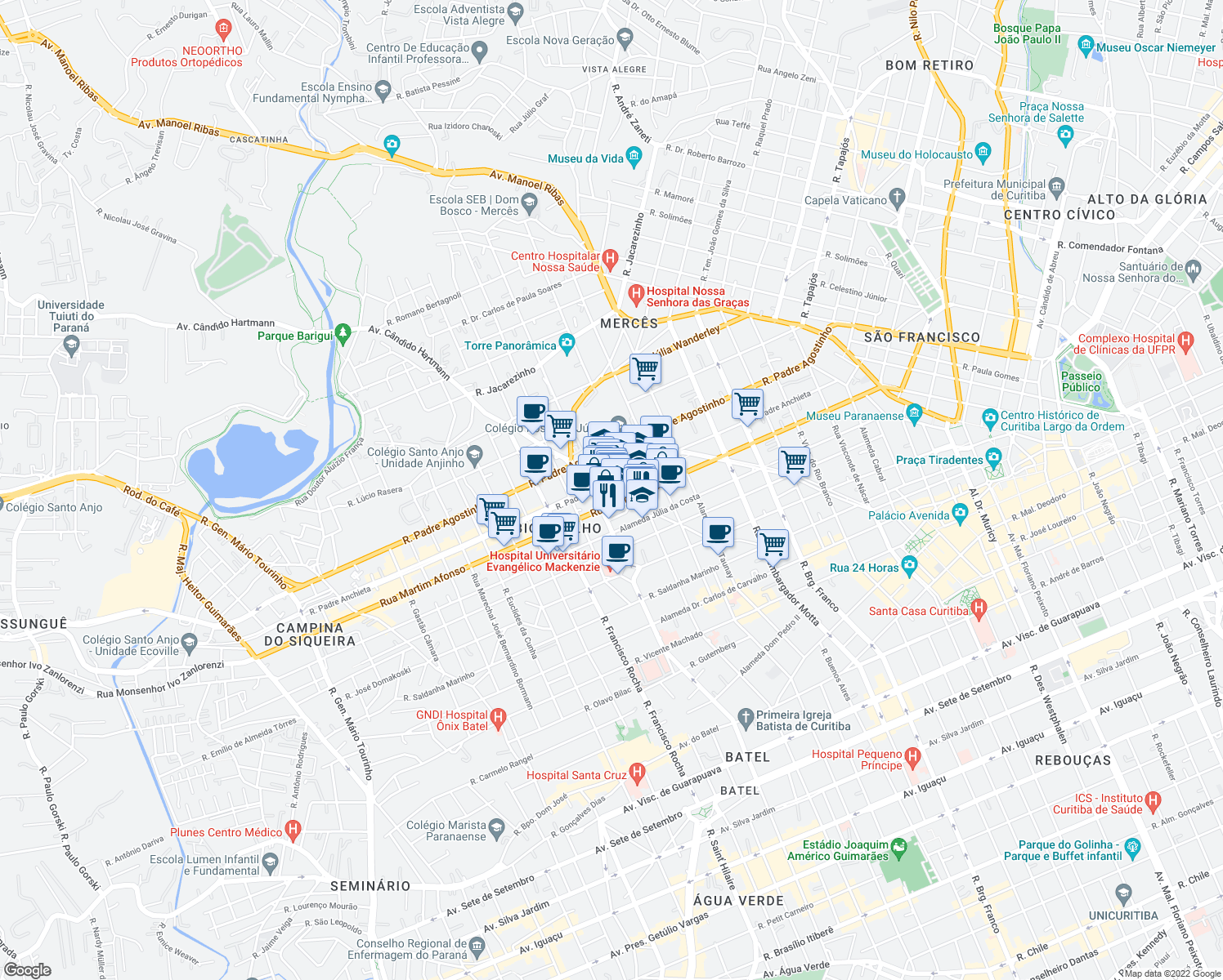 map of restaurants, bars, coffee shops, grocery stores, and more near 590 Avenida Cândido Hartmann in Curitiba