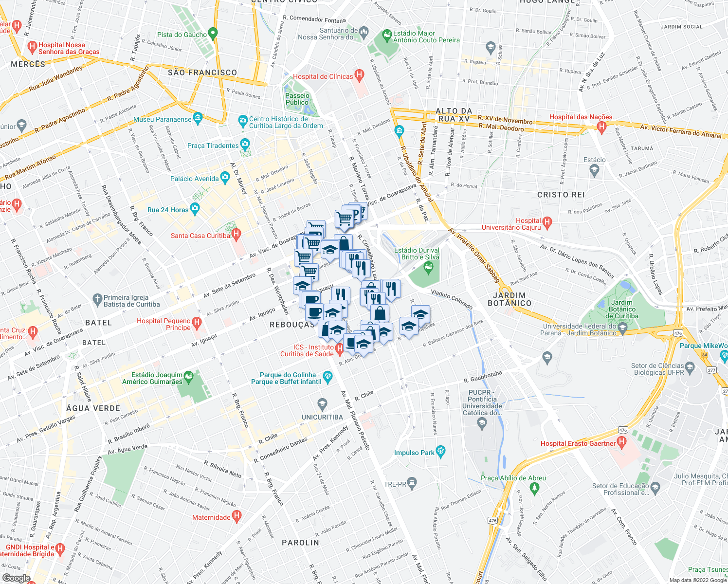 map of restaurants, bars, coffee shops, grocery stores, and more near 234 Avenida Presidente Getúlio Vargas in Curitiba