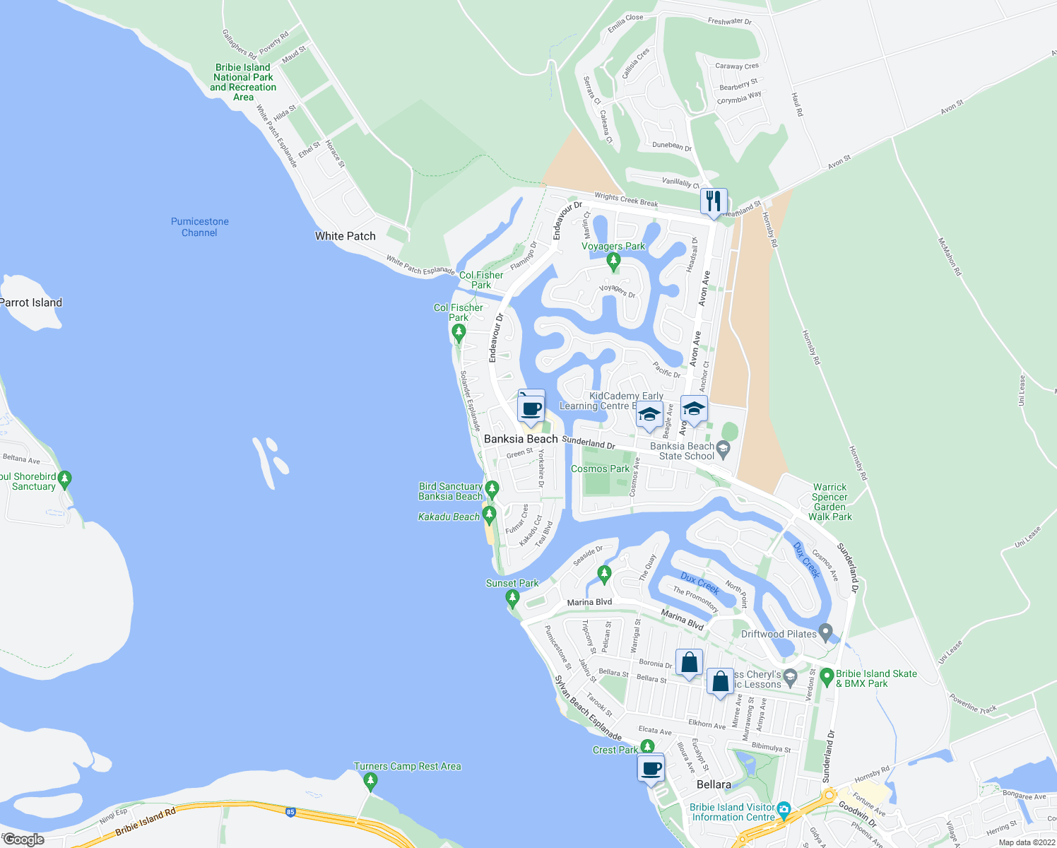 map of restaurants, bars, coffee shops, grocery stores, and more near 25 Sunderland Drive in Banksia Beach