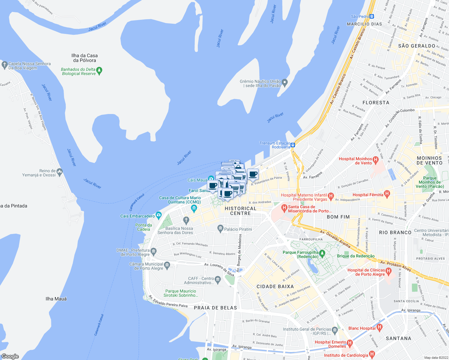 map of restaurants, bars, coffee shops, grocery stores, and more near 40 Travessa Francisco de Leonardo Truda in Porto Alegre
