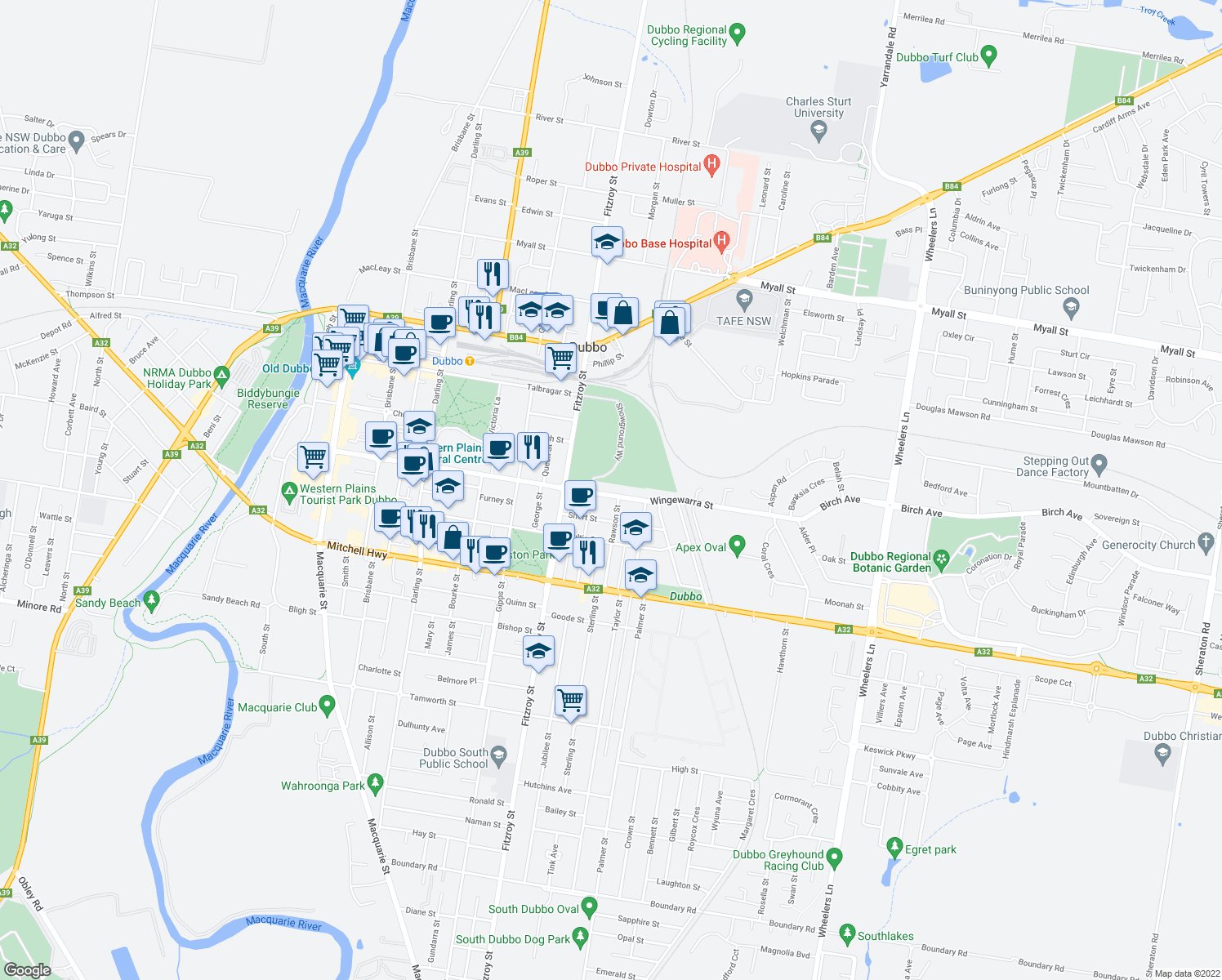 map of restaurants, bars, coffee shops, grocery stores, and more near 116 Wingewarra Street in Dubbo