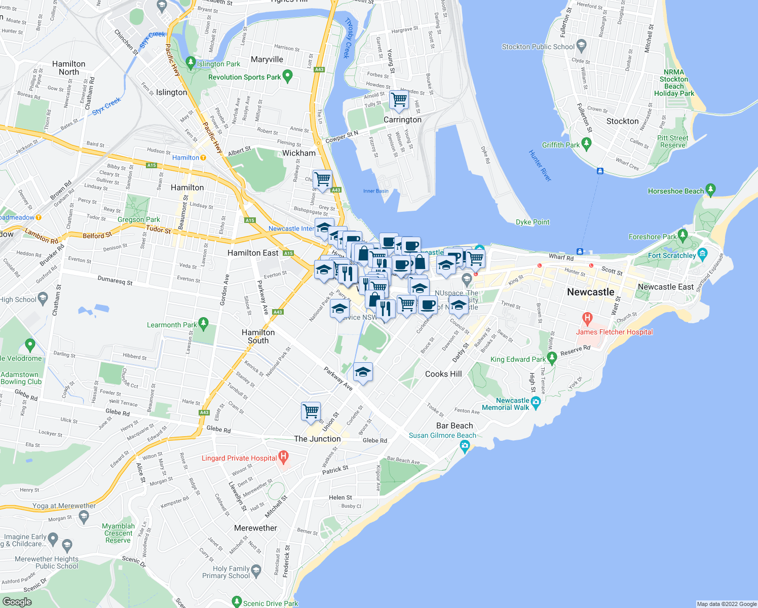 map of restaurants, bars, coffee shops, grocery stores, and more near 23 Steel Street in Newcastle West