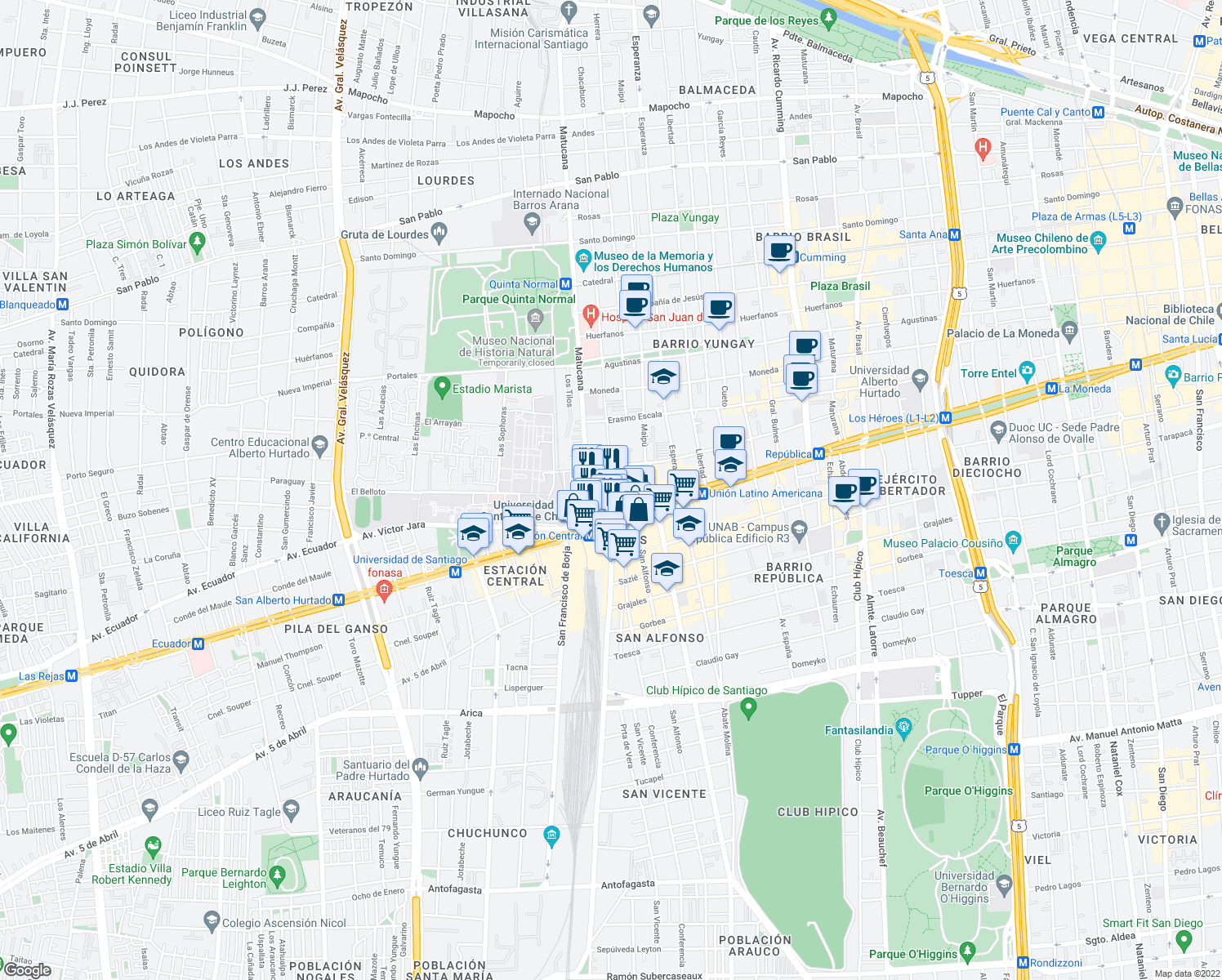 map of restaurants, bars, coffee shops, grocery stores, and more near 21 Chacabuco in Santiago