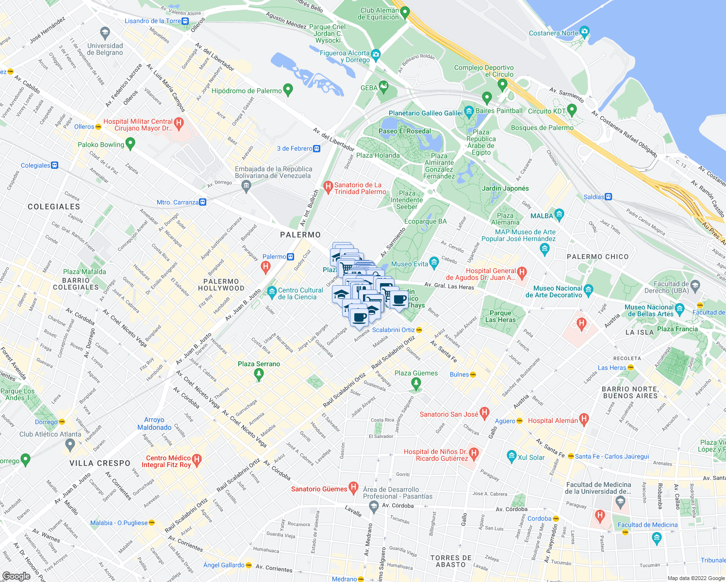 map of restaurants, bars, coffee shops, grocery stores, and more near 4018 Avenida Santa Fe in Buenos Aires