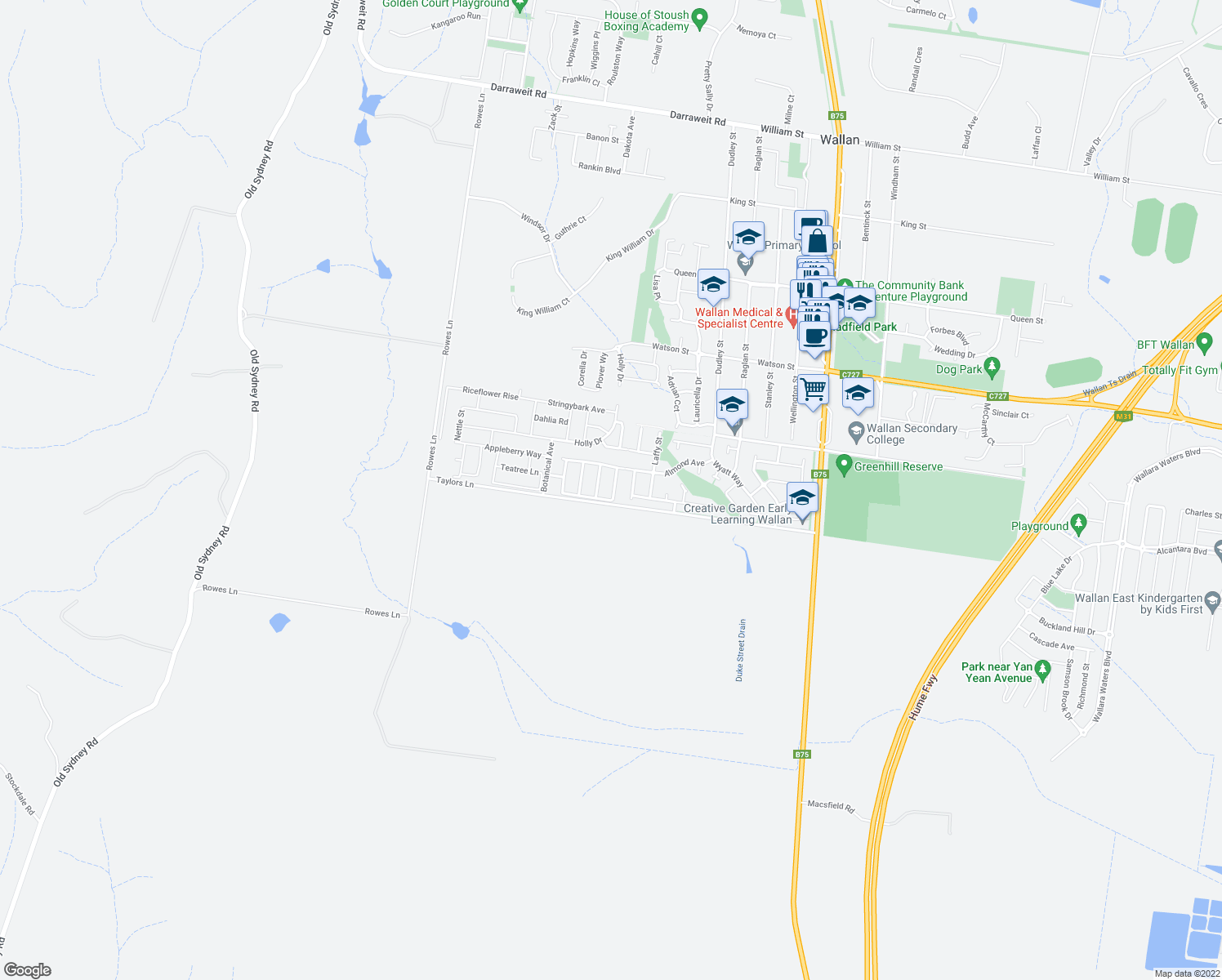 map of restaurants, bars, coffee shops, grocery stores, and more near Taylors Lane in Wallan