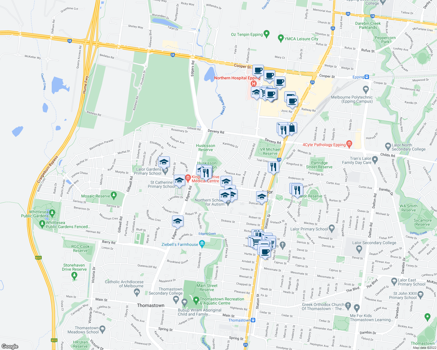 map of restaurants, bars, coffee shops, grocery stores, and more near 16 Huskisson Avenue in Lalor