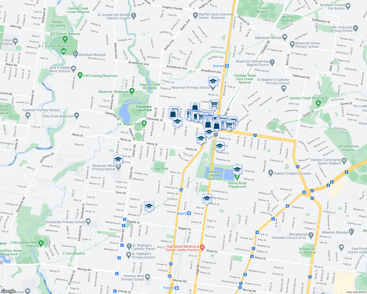 map of restaurants, bars, coffee shops, grocery stores, and more near 1 Ashley Street in Reservoir