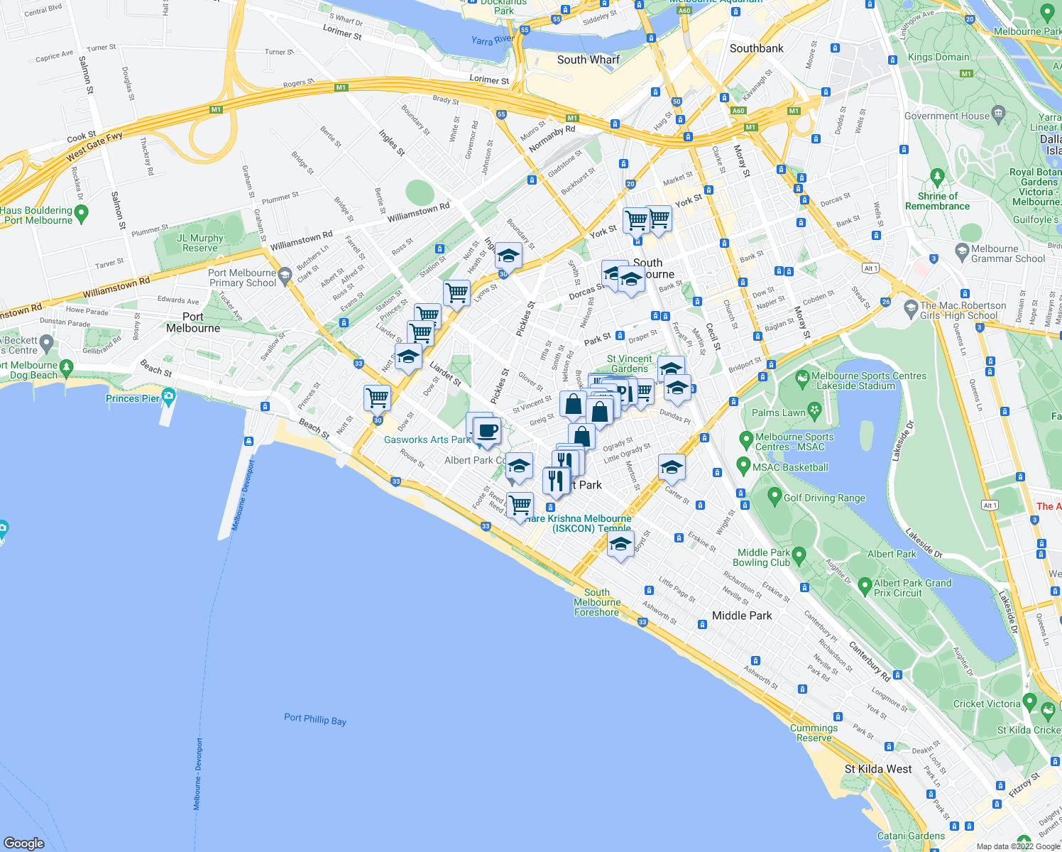 map of restaurants, bars, coffee shops, grocery stores, and more near 55 Greig Street in Albert Park