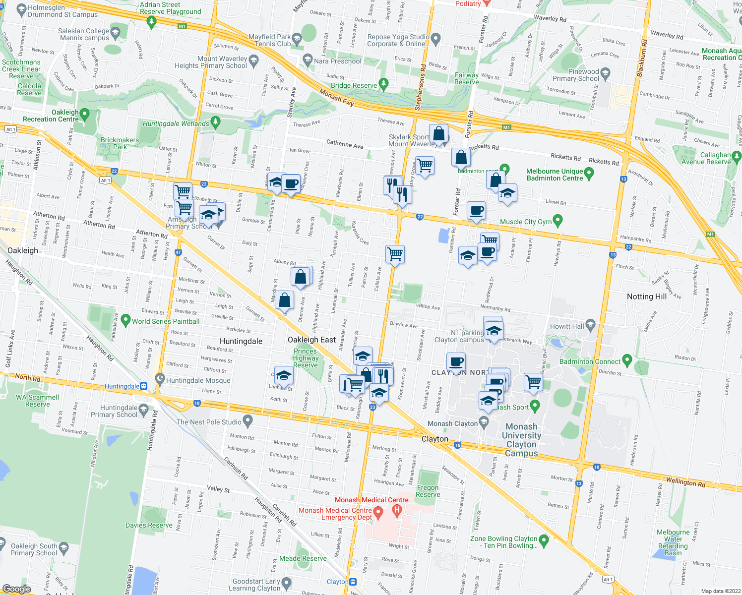 map of restaurants, bars, coffee shops, grocery stores, and more near 37 Calista Avenue in Oakleigh East