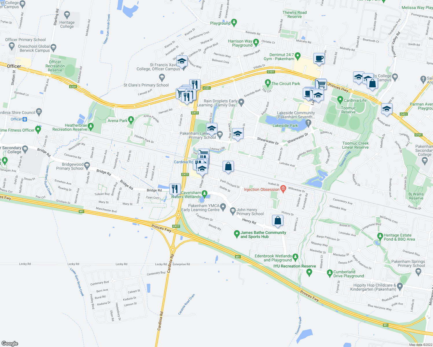 map of restaurants, bars, coffee shops, grocery stores, and more near 8 Golden Green Street in Pakenham