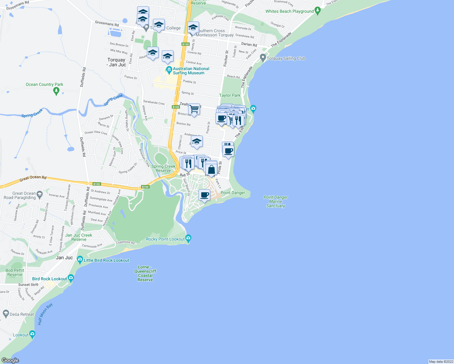 map of restaurants, bars, coffee shops, grocery stores, and more near 4-5 The Esplanade in Torquay