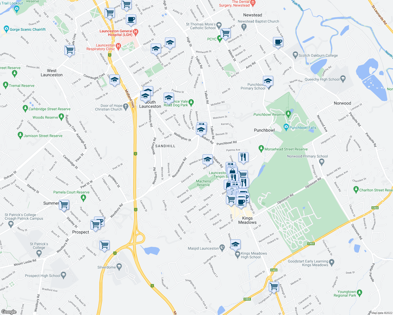 map of restaurants, bars, coffee shops, grocery stores, and more near 8 Weedon Avenue in South Launceston