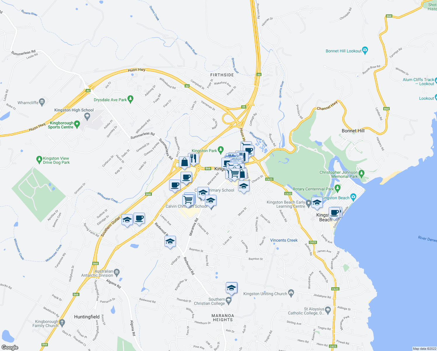 map of restaurants, bars, coffee shops, grocery stores, and more near 4 Maranoa Rd in Kingston