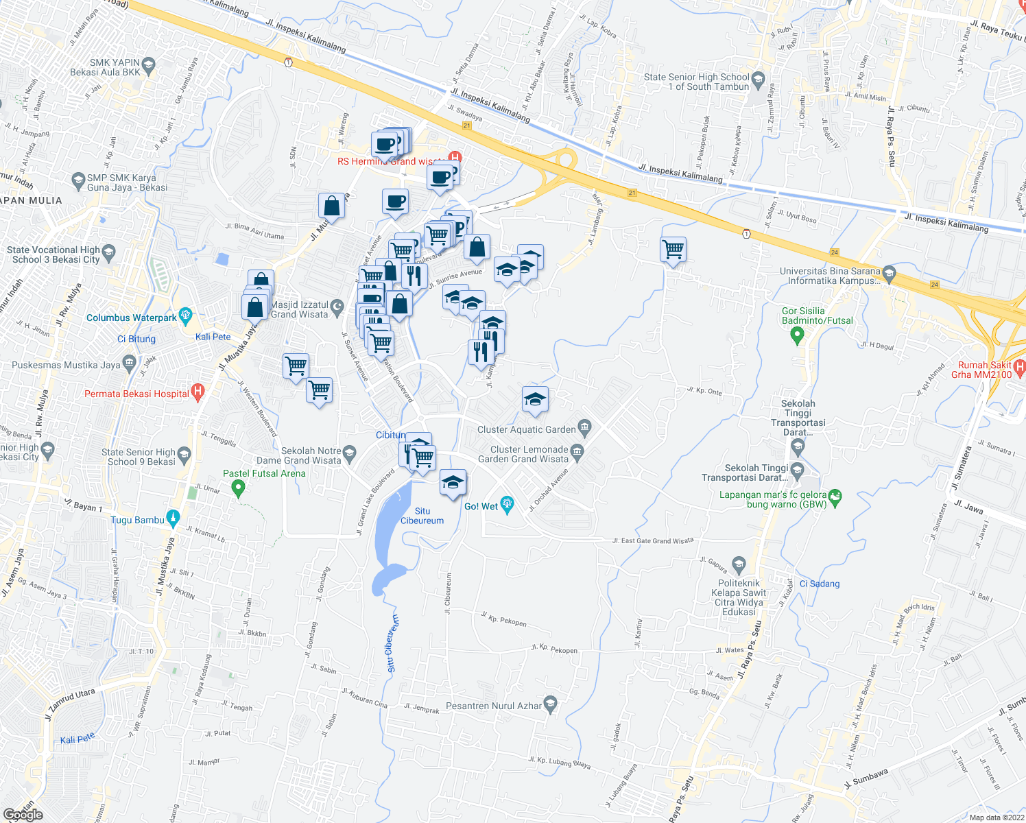 map of restaurants, bars, coffee shops, grocery stores, and more near Jalan Celebration Boulevard - Grand Wisata in Bekasi