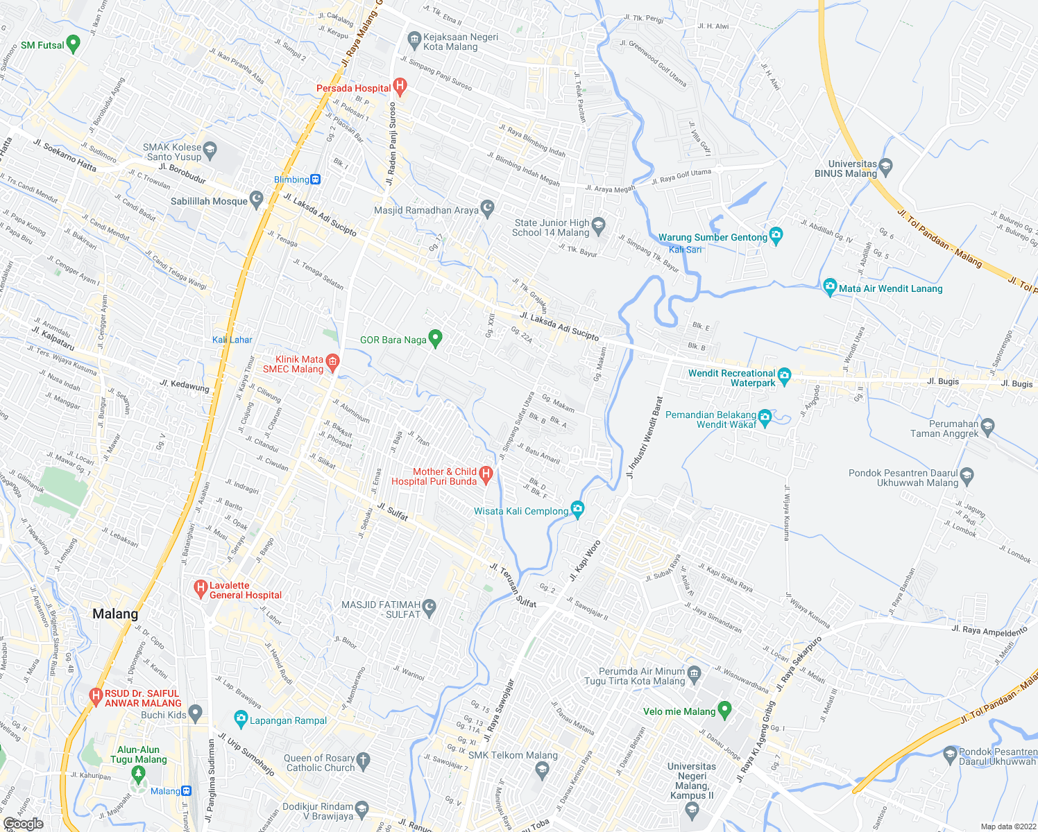 map of restaurants, bars, coffee shops, grocery stores, and more near 14 Jalan Simpang Sulfat Utara in Kota Malang