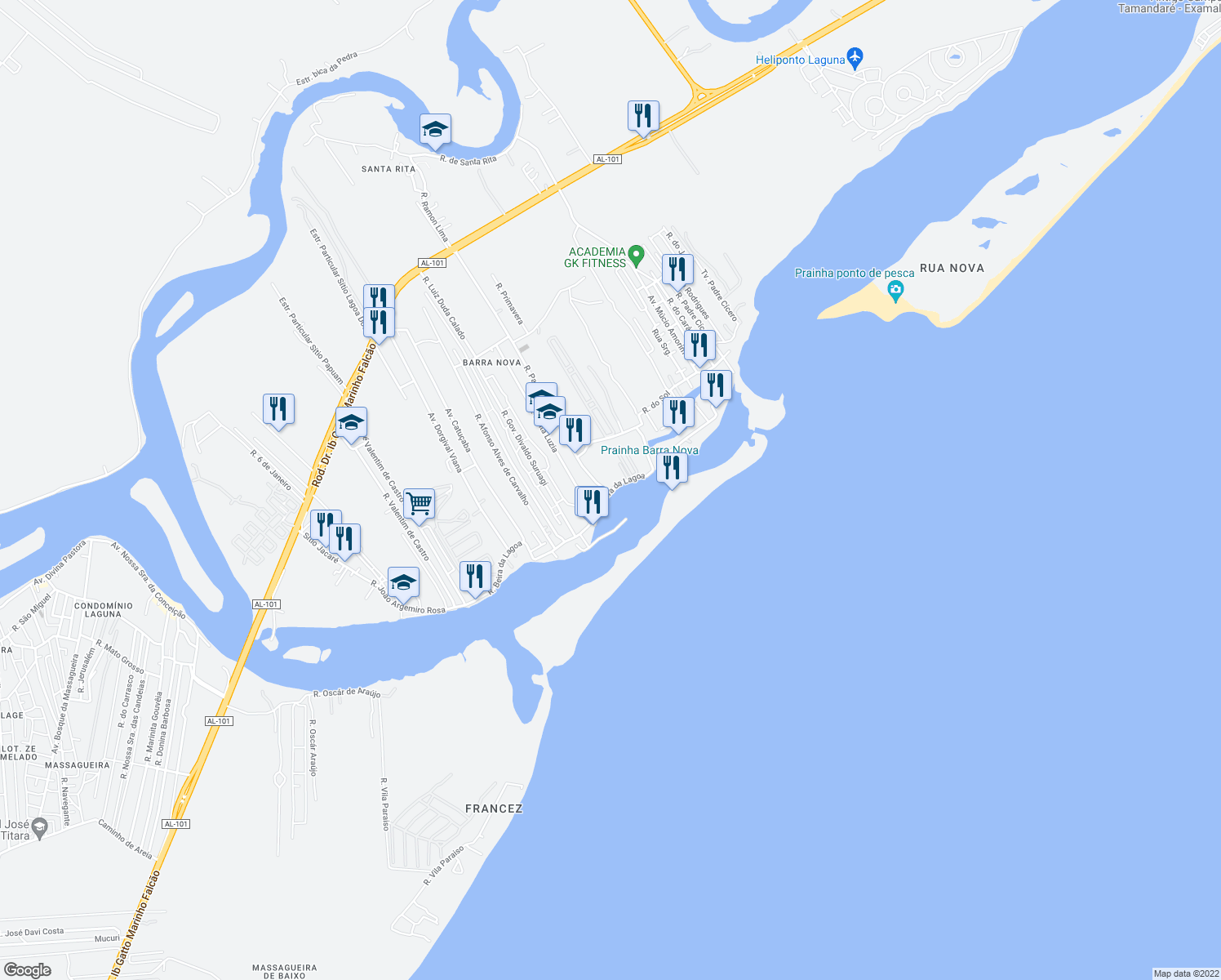 map of restaurants, bars, coffee shops, grocery stores, and more near in Marechal Deodoro