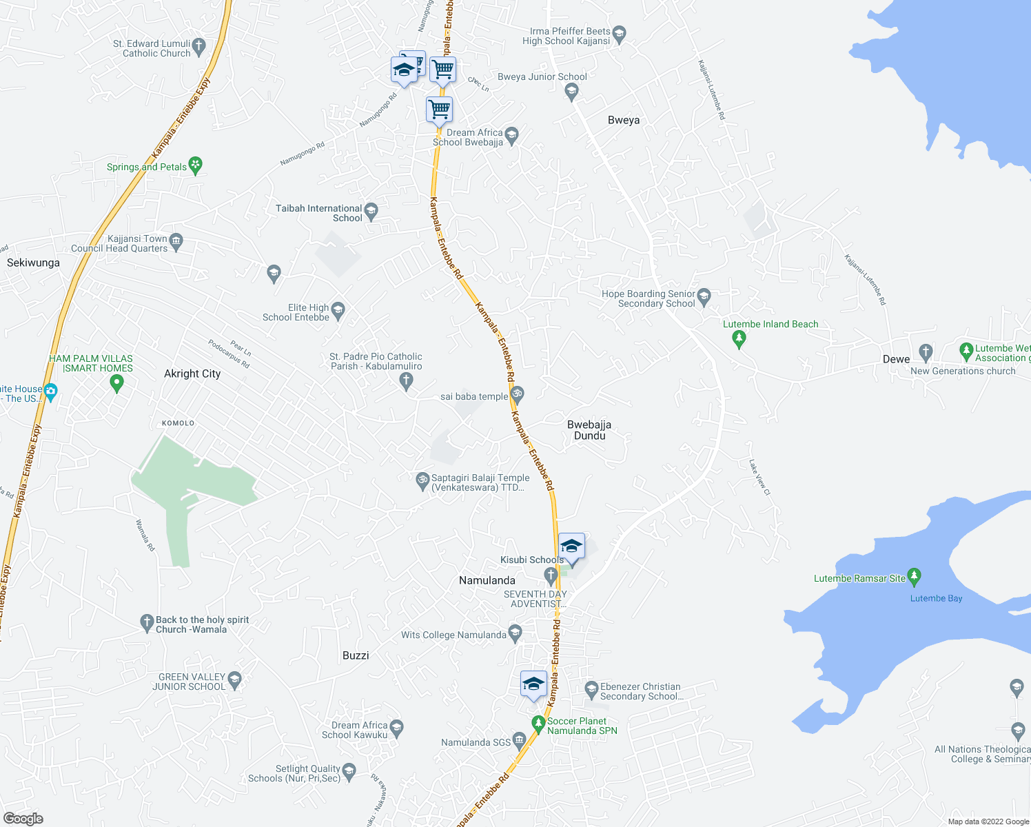 map of restaurants, bars, coffee shops, grocery stores, and more near Kampala - Entebbe Road in Wakiso
