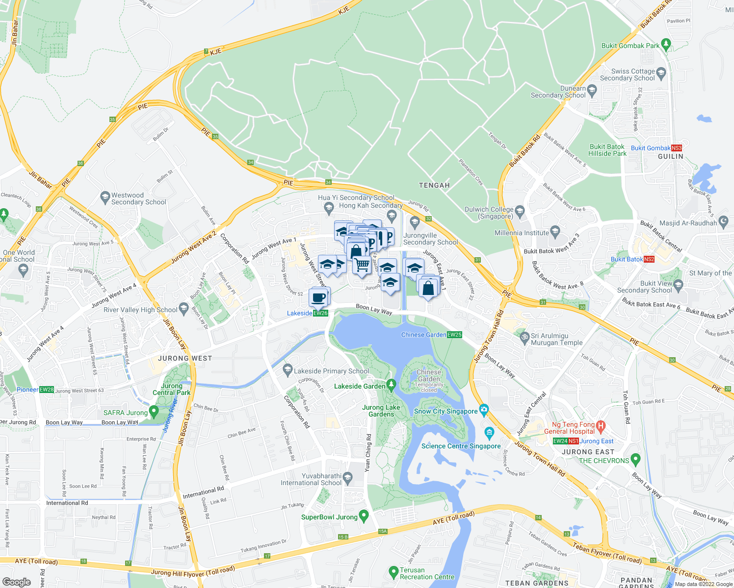 map of restaurants, bars, coffee shops, grocery stores, and more near None in Singapore