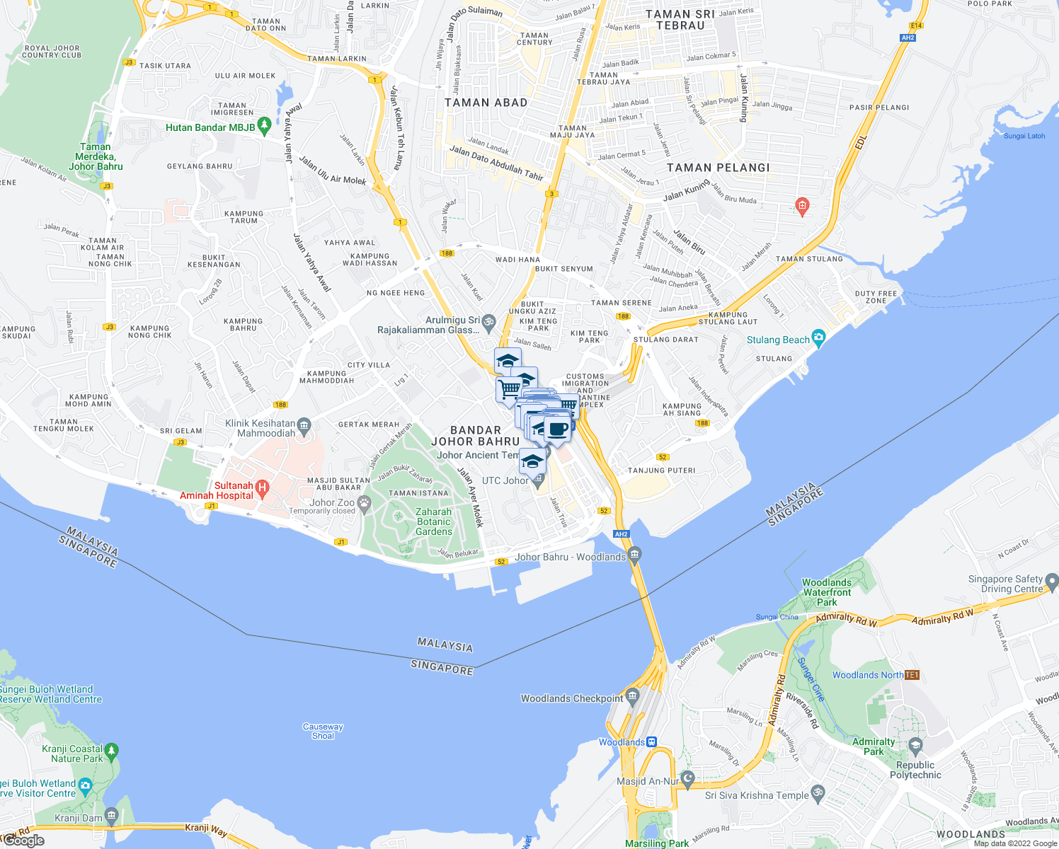 map of restaurants, bars, coffee shops, grocery stores, and more near 2020 Jalan Wong Ah Fook in Johor Bahru