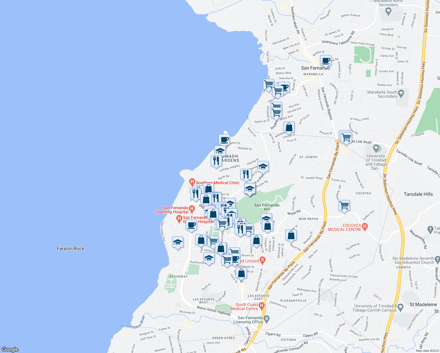 map of restaurants, bars, coffee shops, grocery stores, and more near Vistabella Road in San Fernando