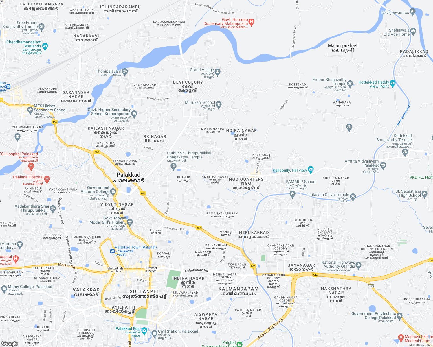 map of restaurants, bars, coffee shops, grocery stores, and more near Kallepully Road in Palakkad