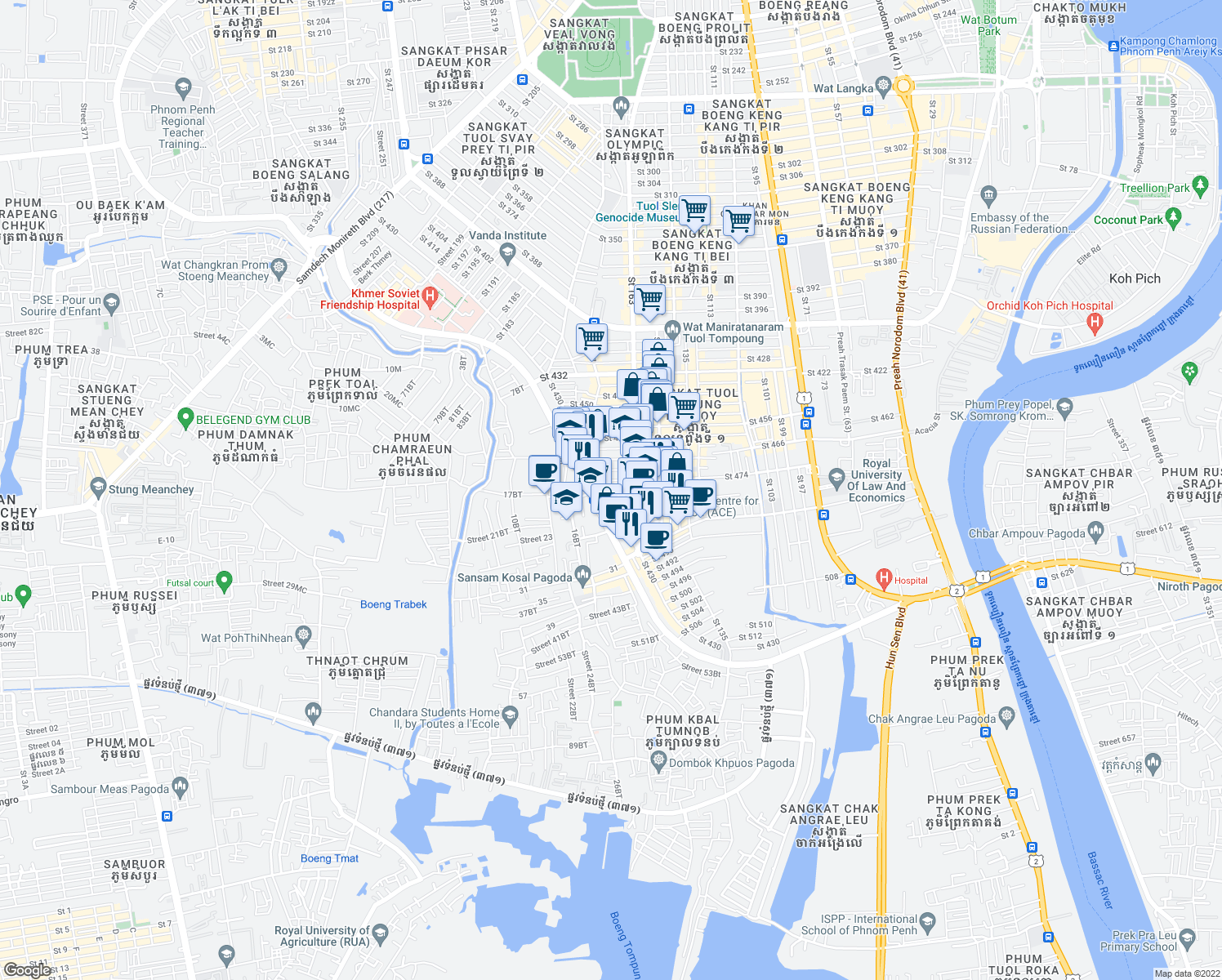 map of restaurants, bars, coffee shops, grocery stores, and more near Saint 430 in Phnom Penh