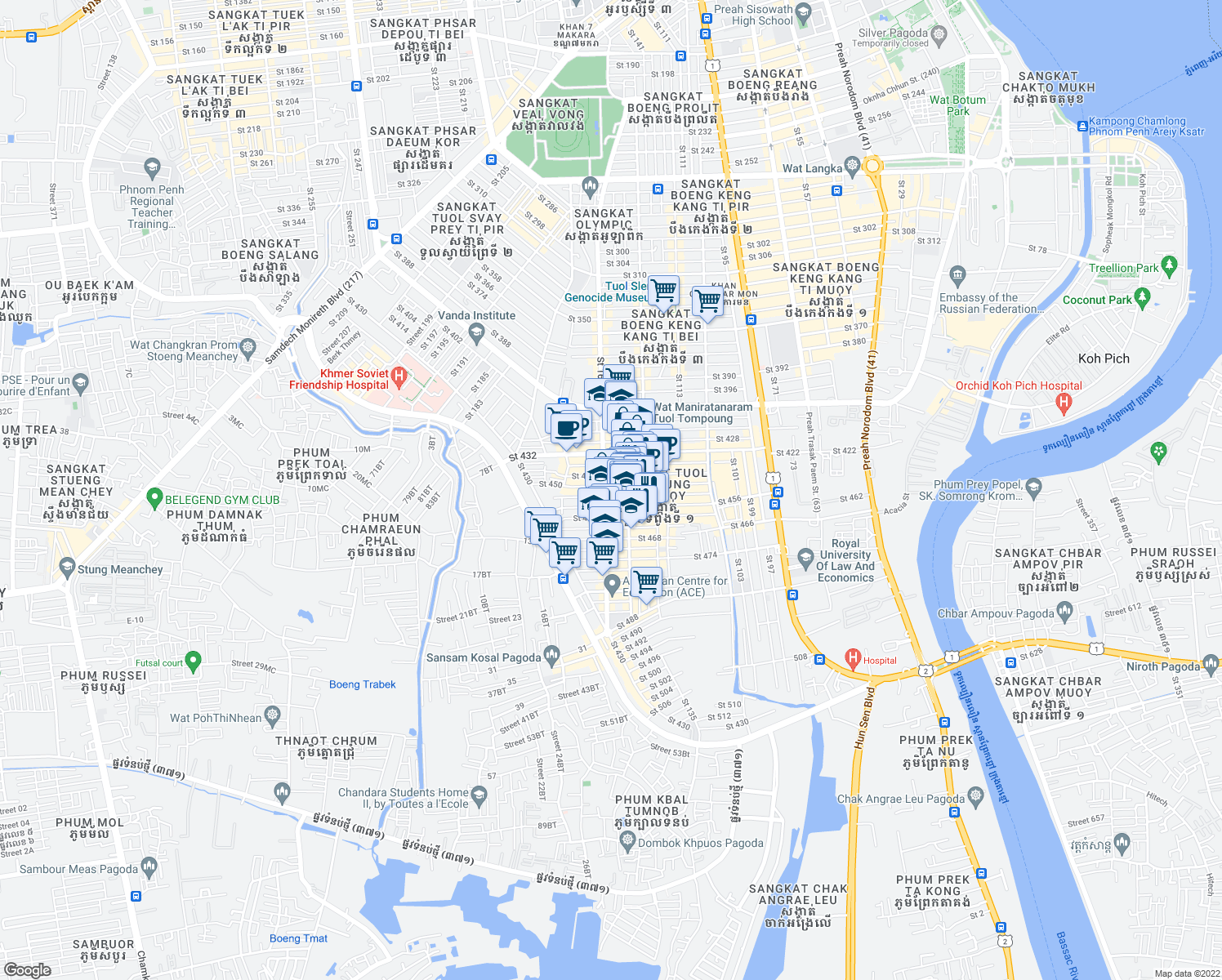 map of restaurants, bars, coffee shops, grocery stores, and more near 76 Saint 163 in Phnom Penh