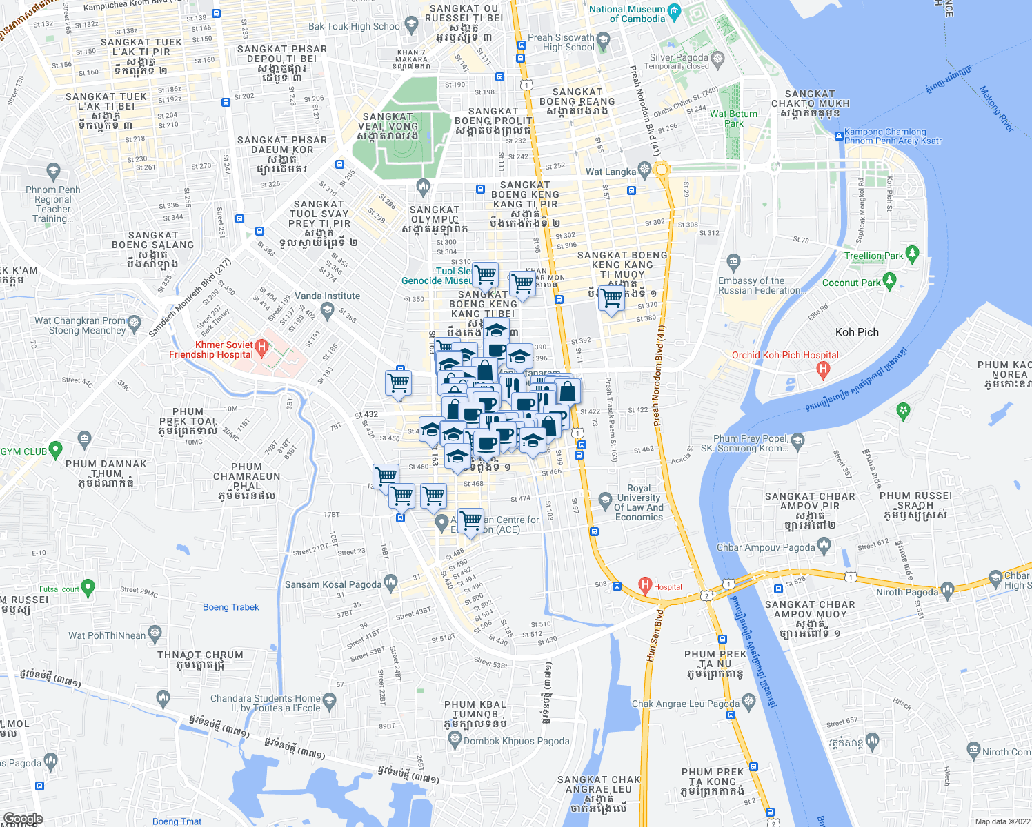 map of restaurants, bars, coffee shops, grocery stores, and more near Saint 440 in Phnom Penh