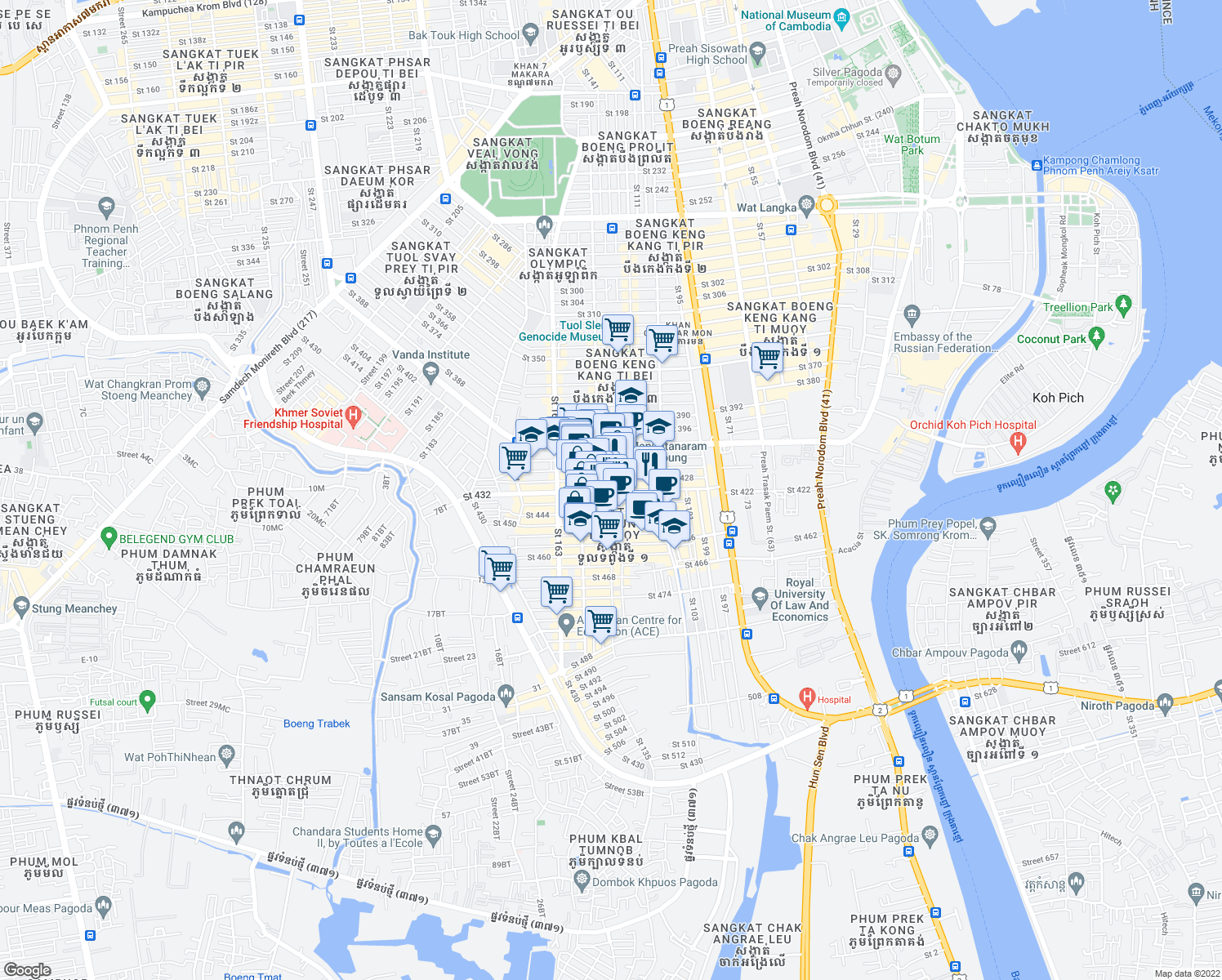 map of restaurants, bars, coffee shops, grocery stores, and more near Saint 123 in Phnom Penh