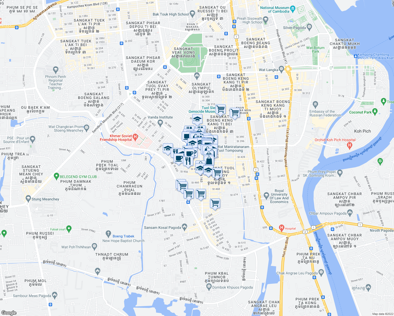 map of restaurants, bars, coffee shops, grocery stores, and more near 418 in Phnom Penh