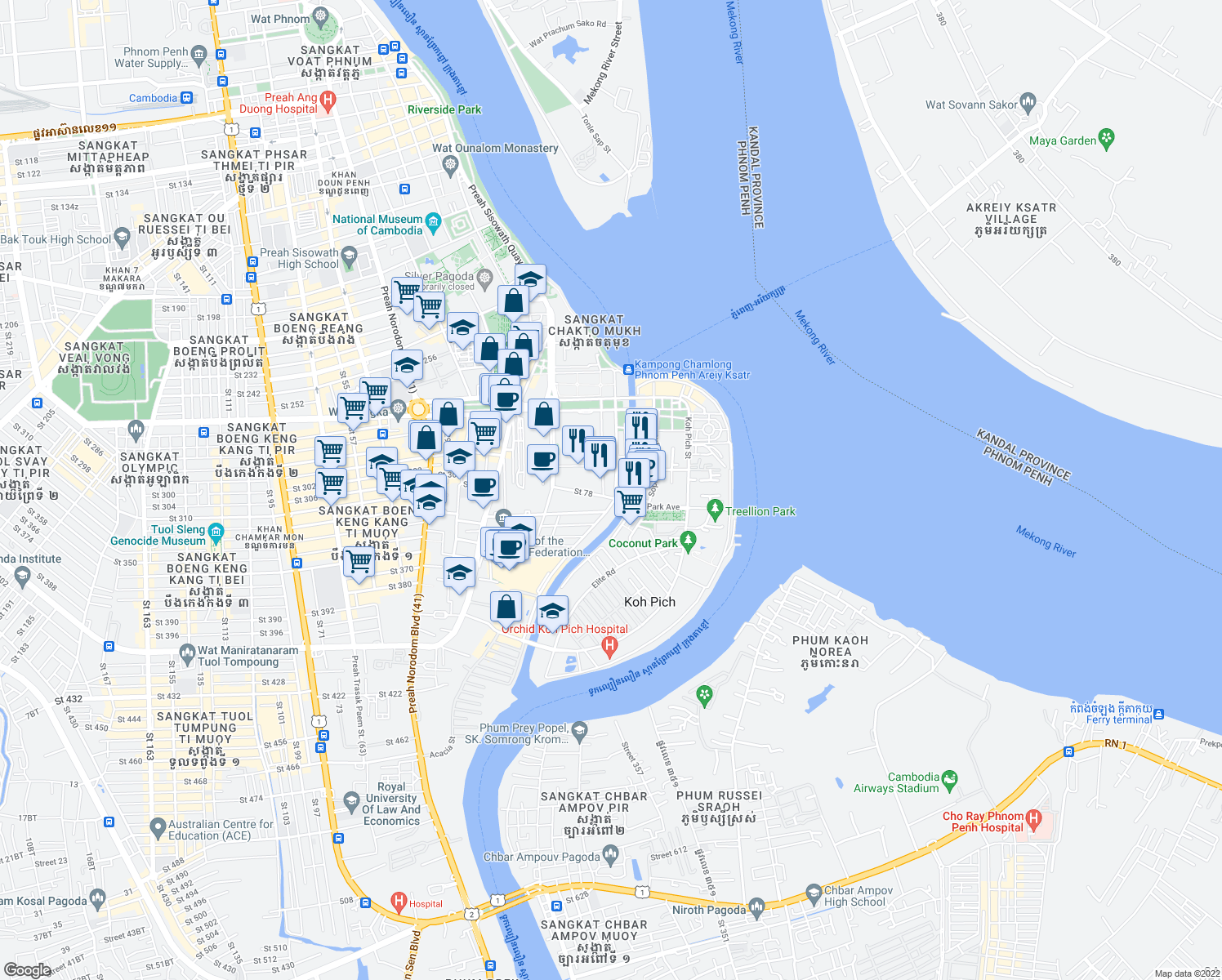 map of restaurants, bars, coffee shops, grocery stores, and more near Samdech Hun Sen Street in Phnom Phen City