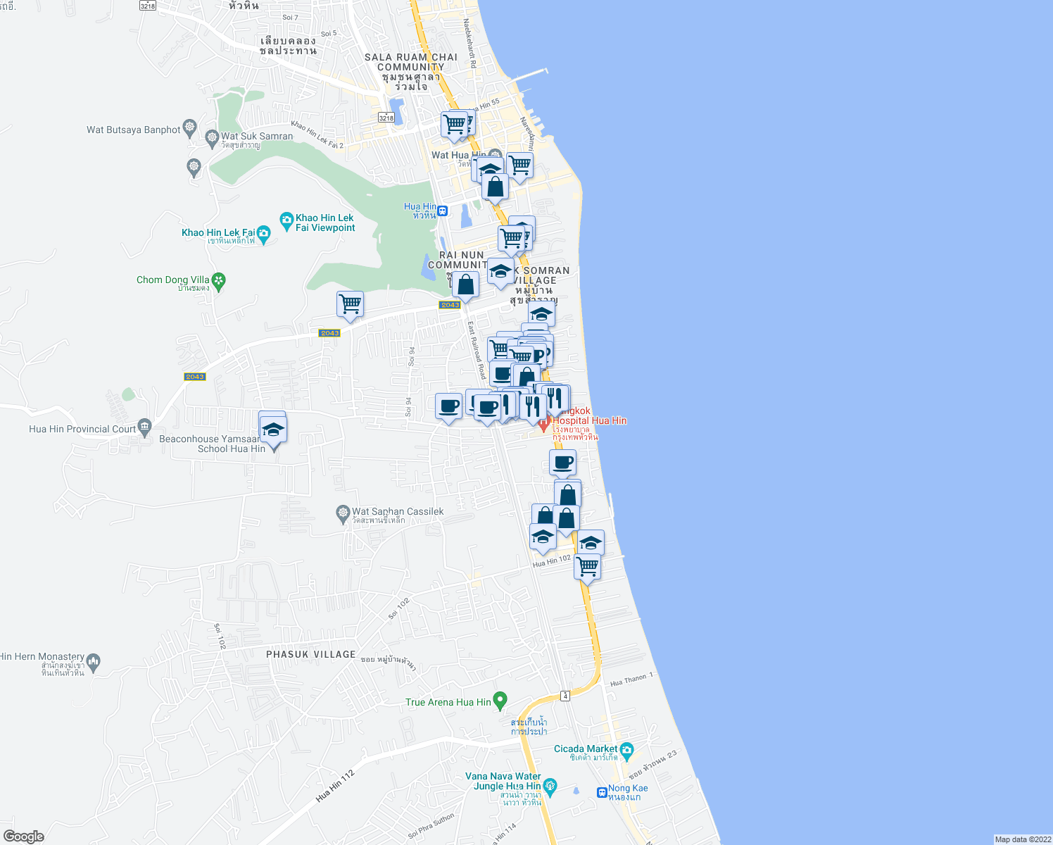 map of restaurants, bars, coffee shops, grocery stores, and more near 250/132 Soi Hua Hin 92 in Tambon Hua Hin