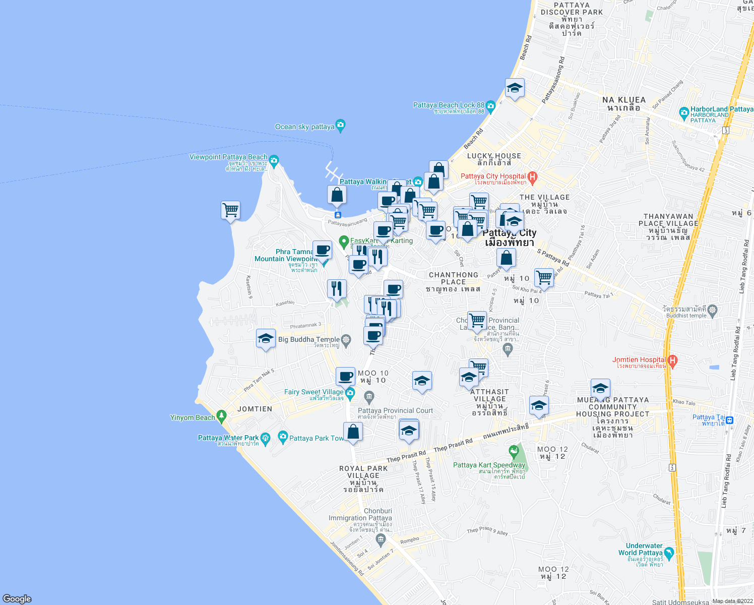 map of restaurants, bars, coffee shops, grocery stores, and more near Soi Thap Phraya 4 in Muang Pattaya