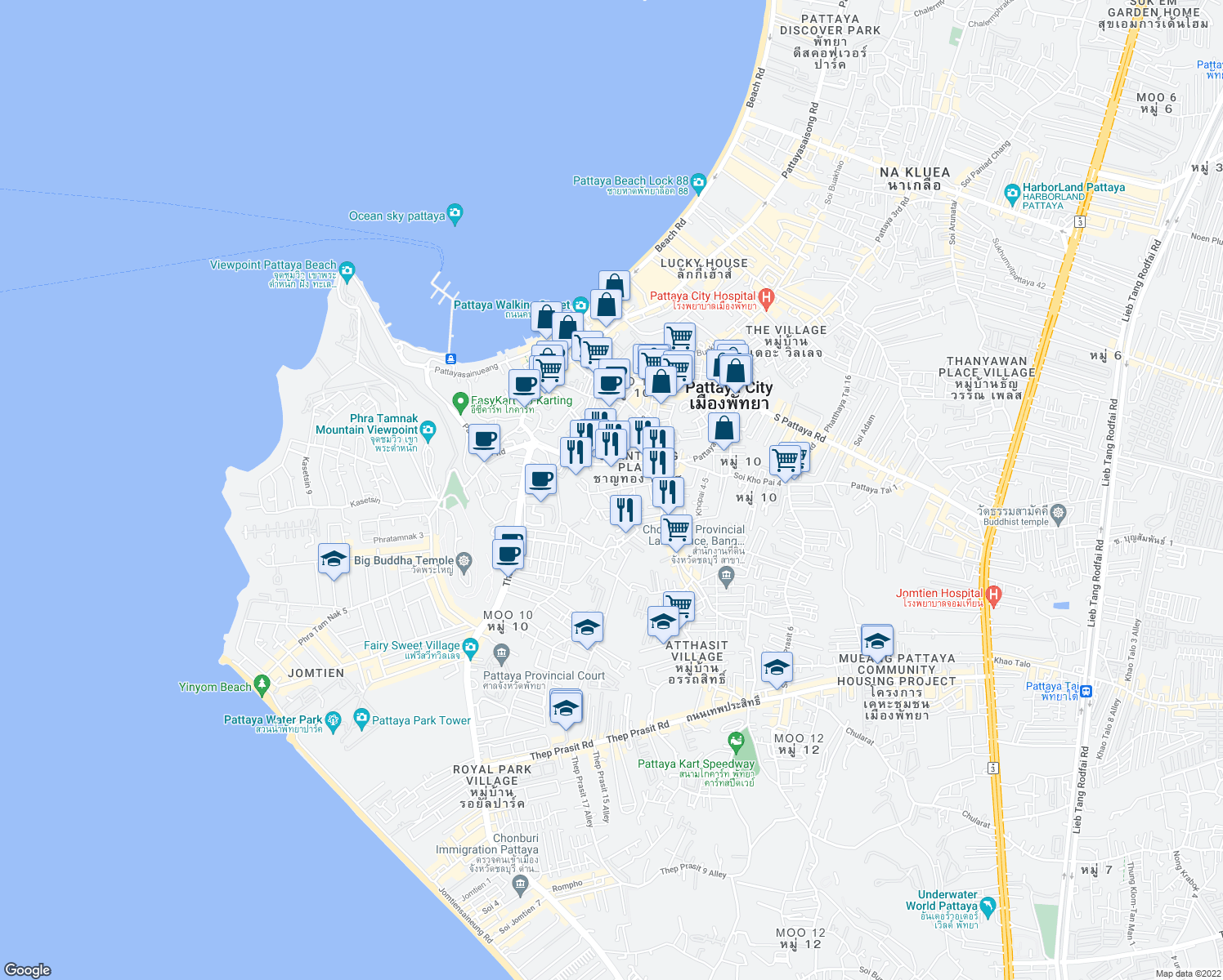 map of restaurants, bars, coffee shops, grocery stores, and more near Bon Kai 1 in Pattaya