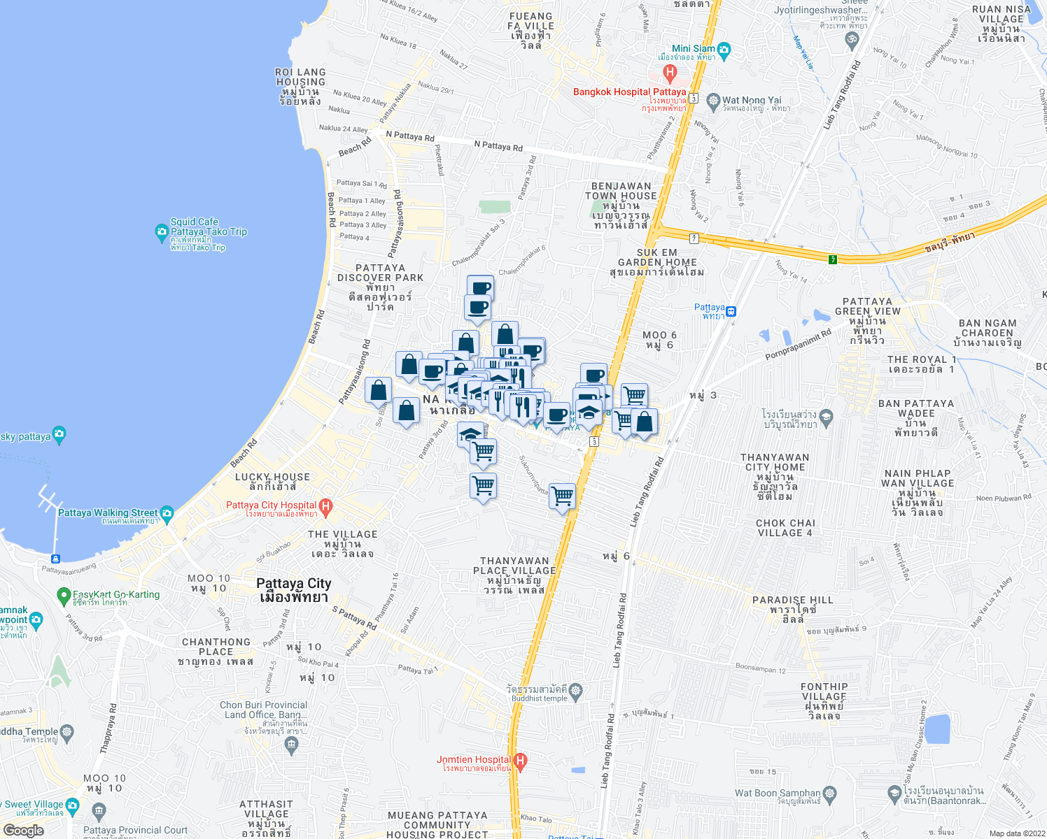 map of restaurants, bars, coffee shops, grocery stores, and more near 141 Paniad Chang 13 Alley in Muang Pattaya