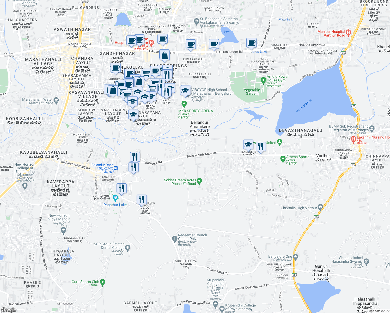 map of restaurants, bars, coffee shops, grocery stores, and more near in Bengaluru