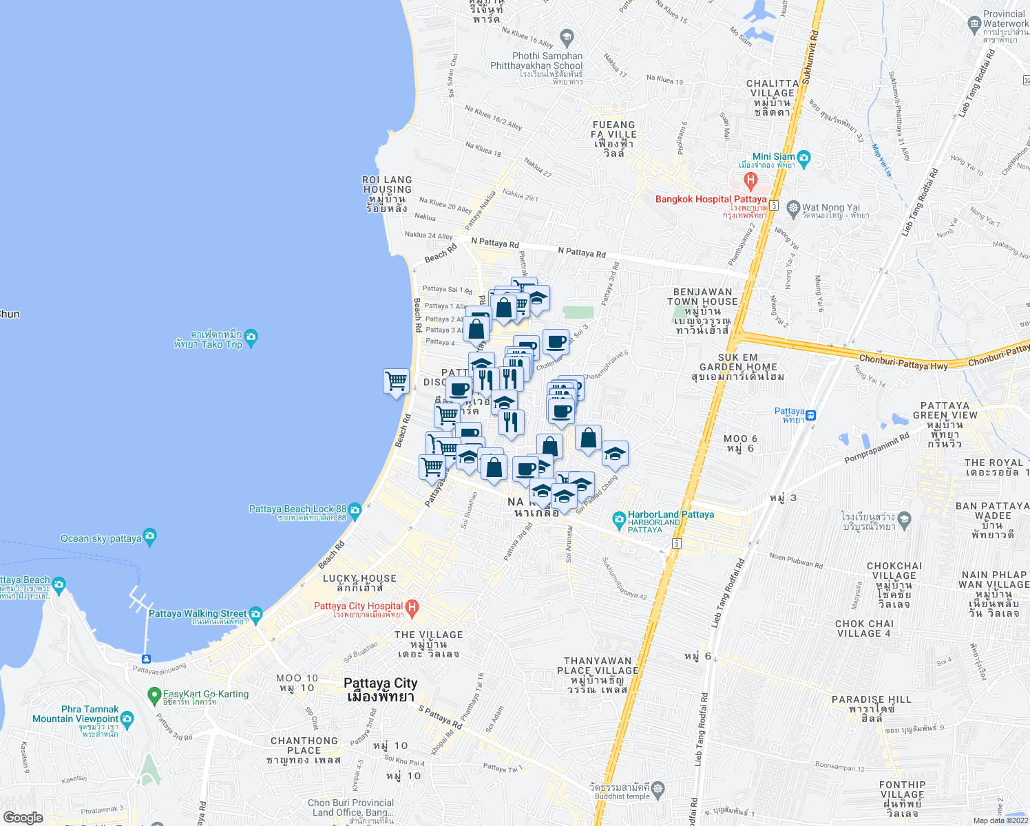 map of restaurants, bars, coffee shops, grocery stores, and more near Phatthayasaisong 4 in Muang Pattaya