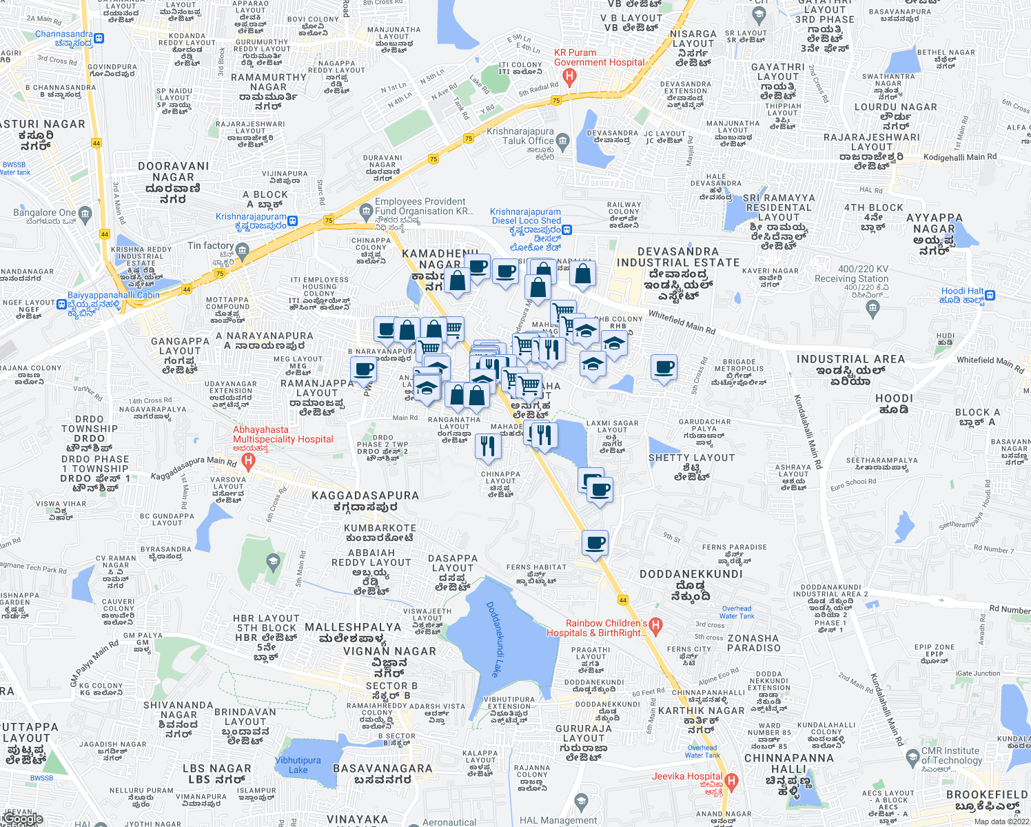 map of restaurants, bars, coffee shops, grocery stores, and more near Shiva Ganga Layout in Bengaluru